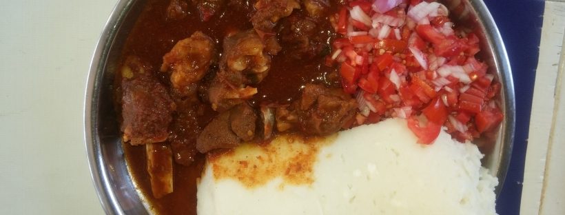 Posho and goat's meat