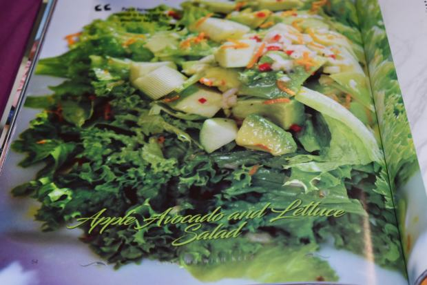 Apple, avocado and lettuce salad. Cook book, recipes.