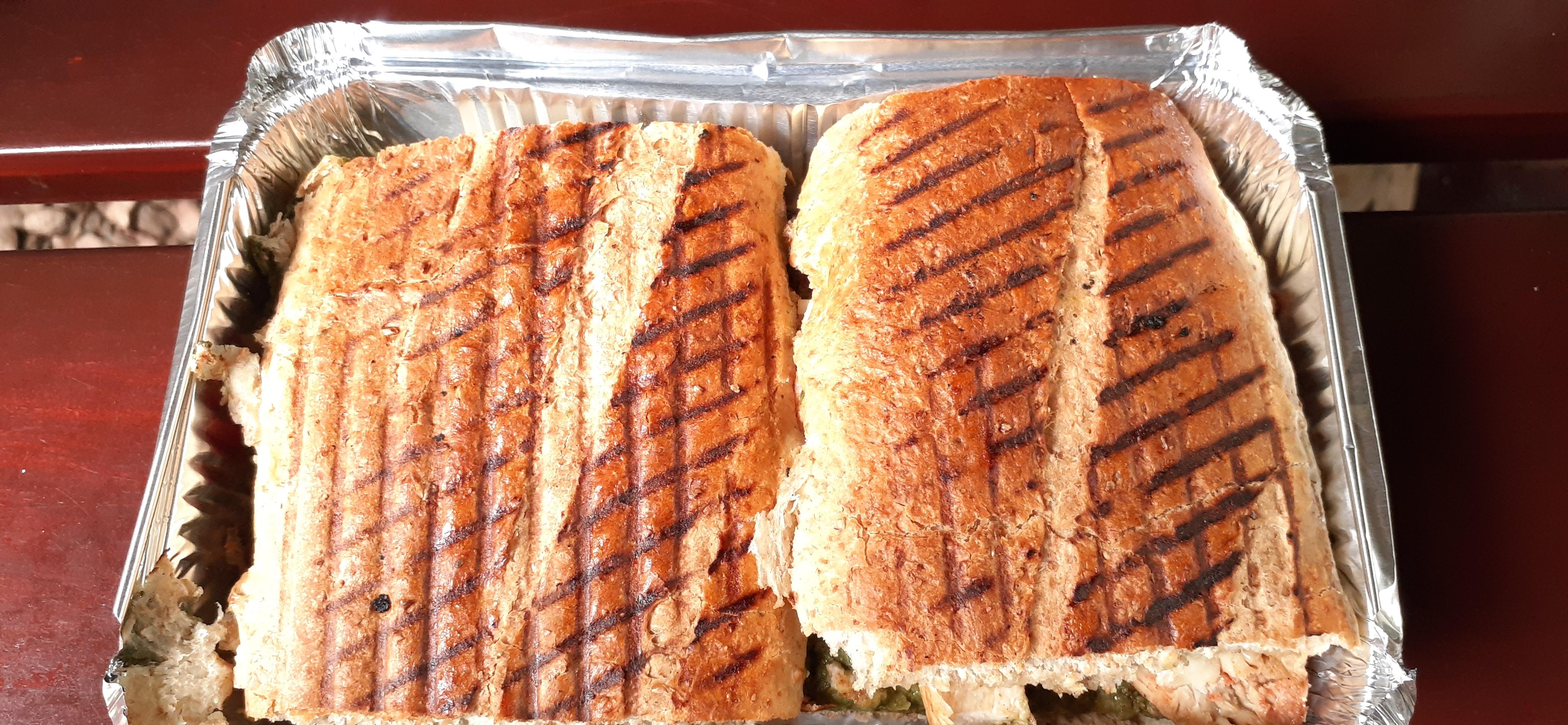 sandwich in uganda, eating in kampala, chicken pesto sandwich