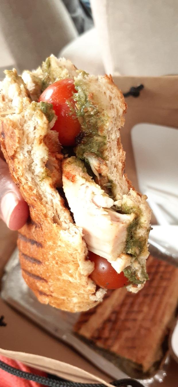chicken pesto sandwich, cherry tomatoes, chicken sandwich, pesto