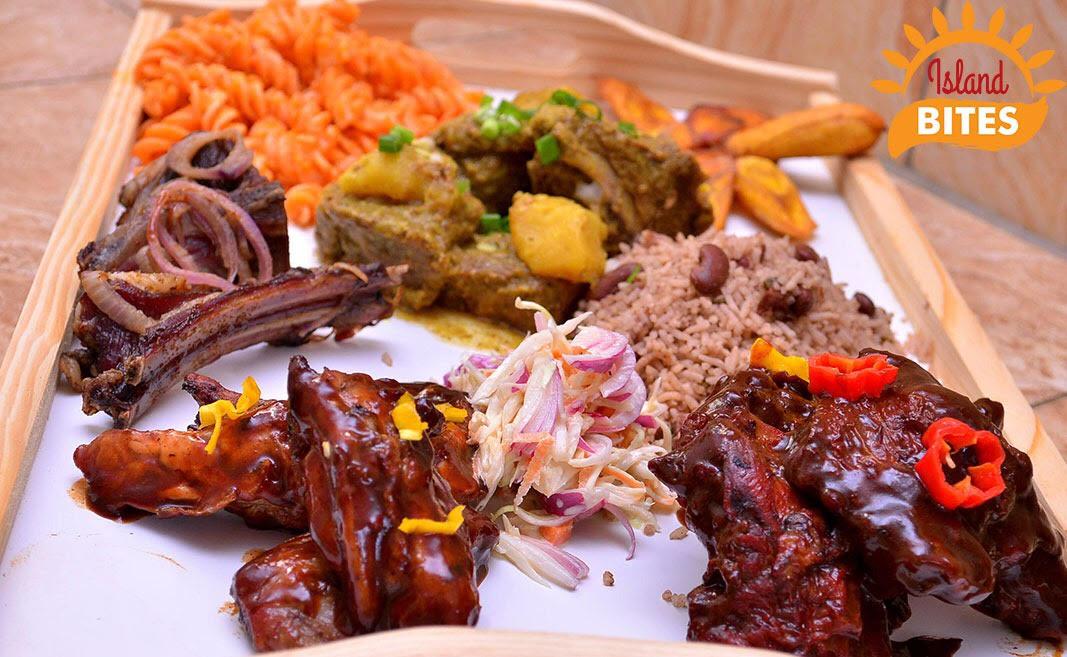 Island bites, food platter, carribean food in uganda